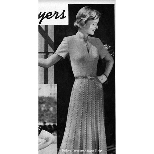 Knitting Pattern Cable Dress with Short Sleeves