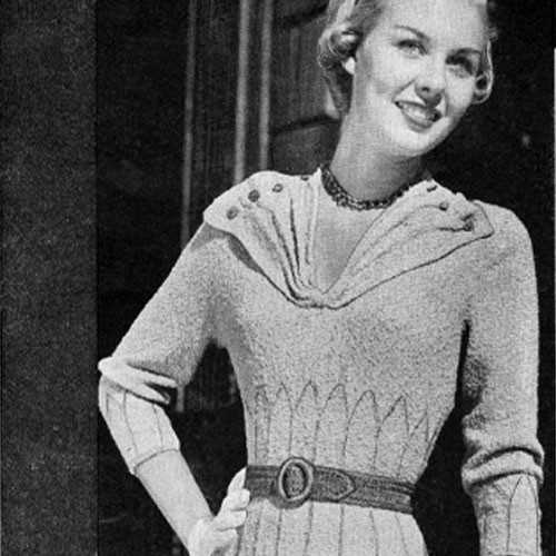 Knitting Pattern Vintage 1930s Fluted Dress