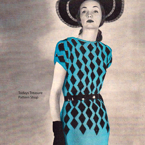 Knitting Pattern Knitted Harlequin Dress