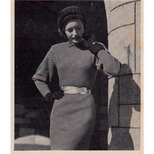 Long Dolman Dress Knitting Pattern, Vintage 1950s