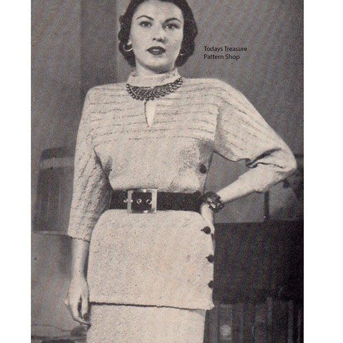 Side Buttoned Knitted Dress Pattern, Vintage 1950s