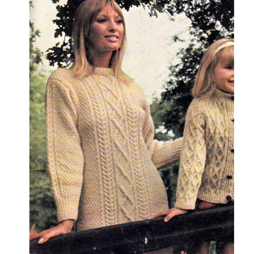 Knitted Long Sleeve Cable Dress Pattern