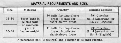 Mail Order Design 696 Knitting Dress Requirements