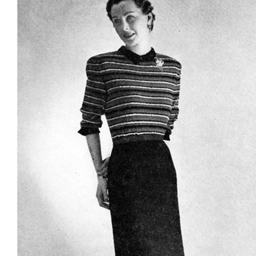 Vintage 1940s Dress Pattern with Striped Bodice