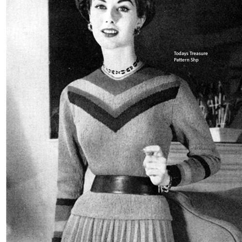 Chevron Yoked Knit Pullover pattern