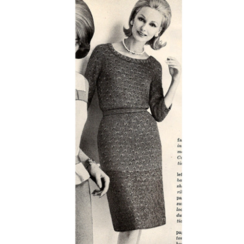 Vintage 1950s Scoop Neck Dress Knitting Pattern