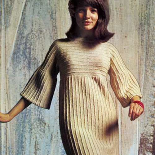 Bell Sleeve Dress Knitting Pattern, Vintage 1960s