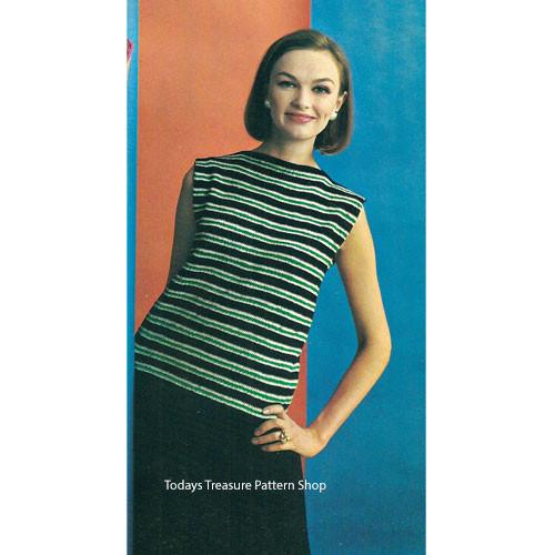 Knitted Two Piece Dress Pattern, Shell & Skirt