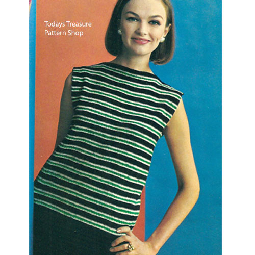 Knitting Pattern Striped Shell with Skirt