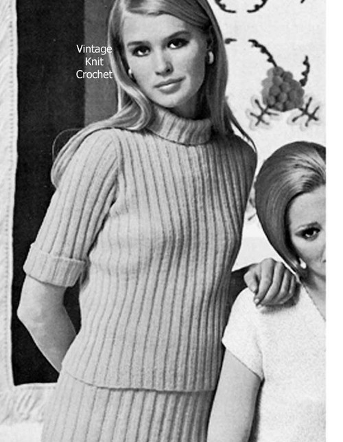 Easy Knit Turtleneck Pullover Pattern, Skirt