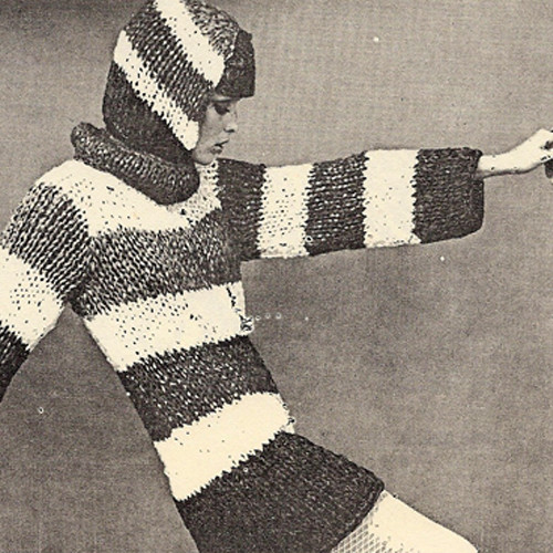 Striped Knitted Tunic Pattern on Big Needles