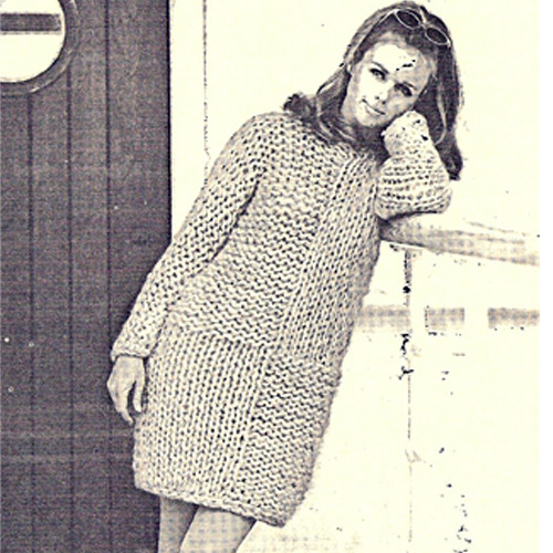 Knitted Mini Dress Pattern, Long Sleeves