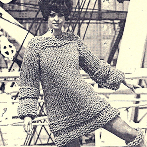 Vintage 1960s Knit Mini Dress Pattern