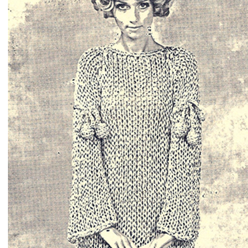 Bell Sleeve Dress Knitting Pattern with Big Needles