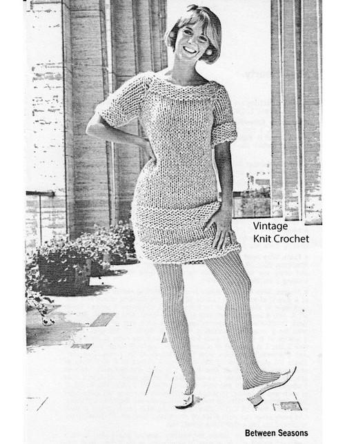 Big Needle Knitted Mini Dress Pattern