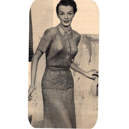 Vintage Knitted Two Piece Ribbon Dress Pattern