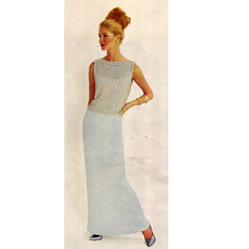 Knitted Evening Gown Pattern with Beaded Bodice