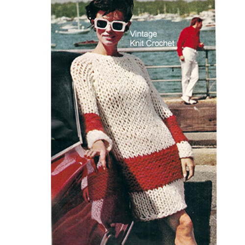 Easy Knitted Dress Pattern, Jumbo Jets Big Needle Design