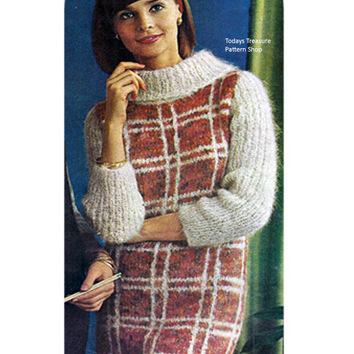 Knitted Dress Cowl Collar Pattern, Vintage 1950s