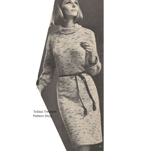 Knitted Tweed Pullover Dress Knitting Pattern