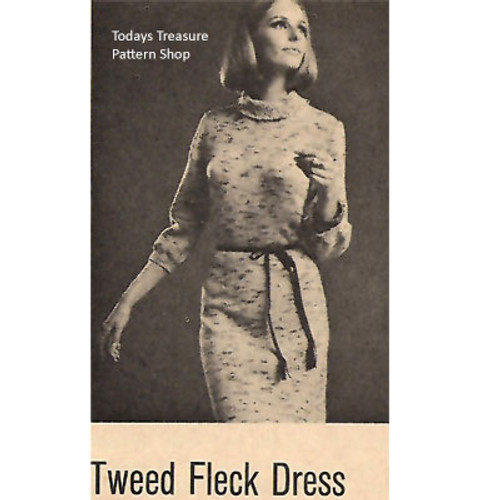 Tweed Fleck Knitted Dress Pattern, Vintage 1960s