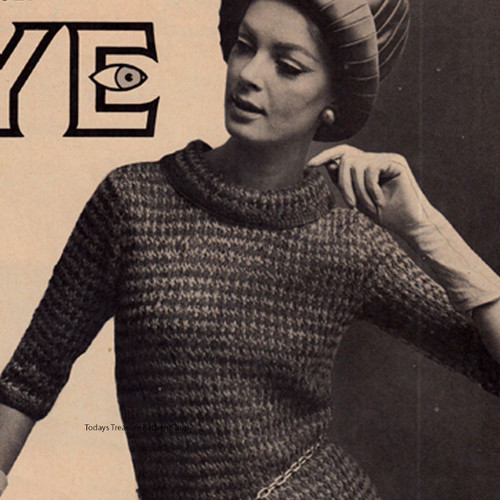 Knitted Ribbon Dress Pattern, Vintage 1960s
