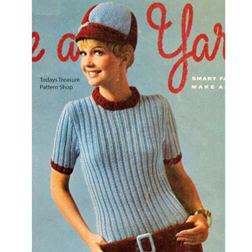 Vintage Knitting Pattern Ribbed Dress & Newsboy Hat