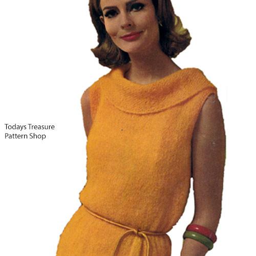 Sleeveless Knitted Mohair Dress Pattern, Ring Collar