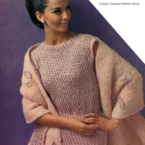 Vintage Knitted Sleeveless Sheath and Stole