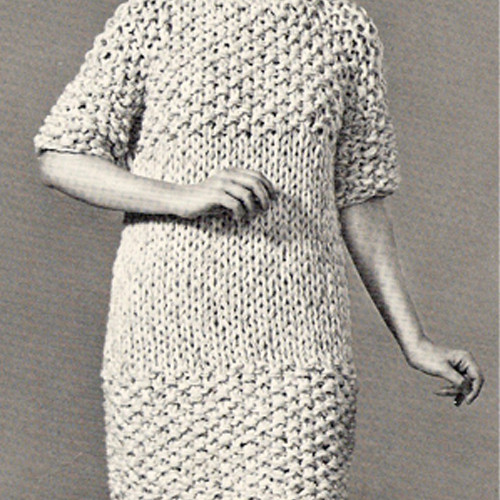 Easy Knitted Dress Pattern in Moss Stitch