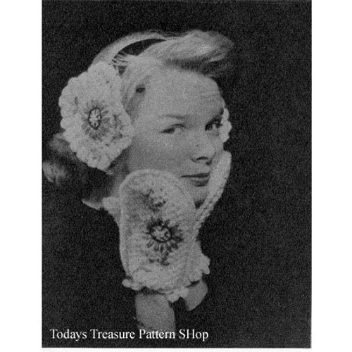 Vintage Crochet Mittens and Muffs with Flower Embroidery