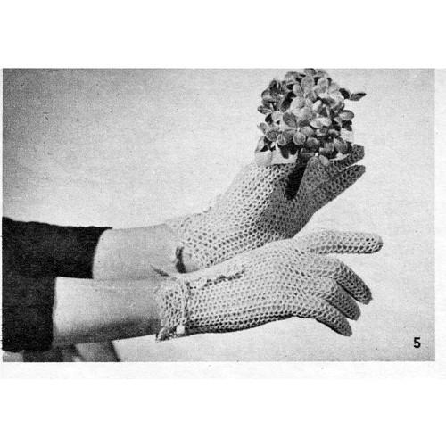 Crocheted Mesh Gloves pattern, Wrist Length