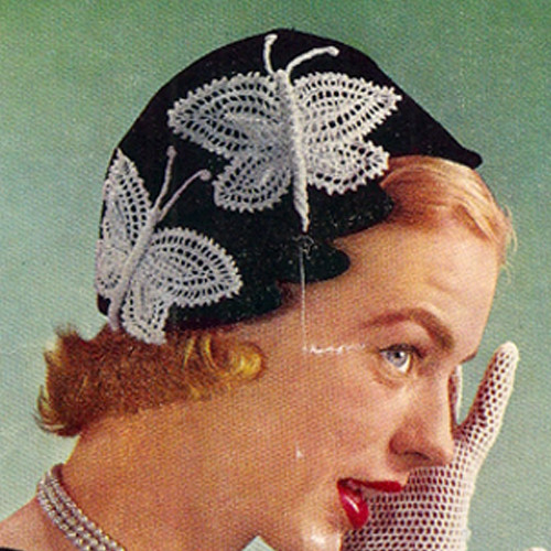 Crochet Hat pattern with butterfly motifs