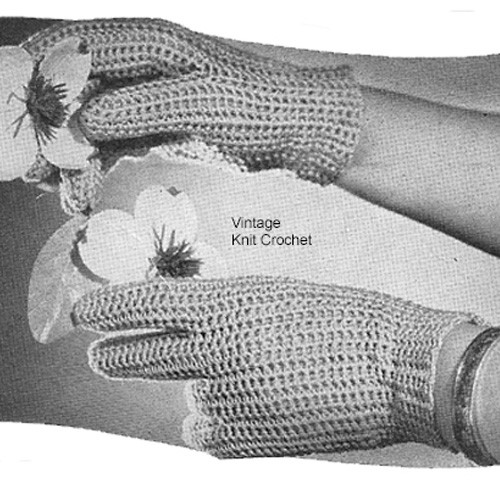 Crocheted Mesh Gloves Pattern, Vintage 1940s