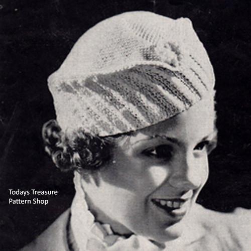 Crochet Hat Pattern, Vintage 1940s