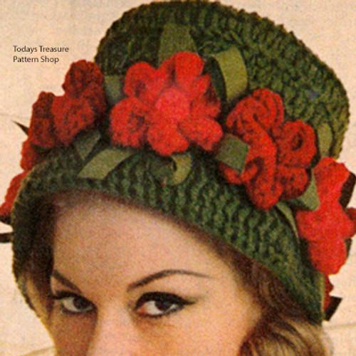 Flower Trimmed Crochet hat pattern, vintage 1962