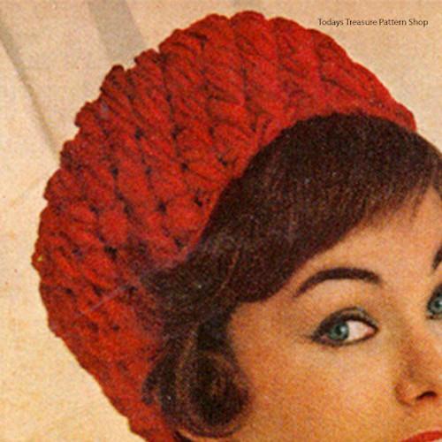 Crochet Pillbox Hat Pattern in Popcorn Stitch