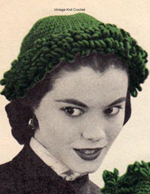 Easy Crochet Hat Pattern, Loop Stitch Trim
