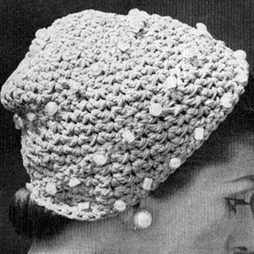 Crochet Beaded Hat Pattern, Vintage 1950s