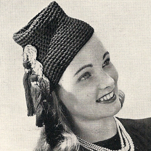 Vintage High Hat Crochet Pattern with Tassle