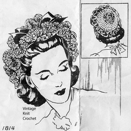 Crochet Ruffled Hat Pattern, Mail Order Design 1814