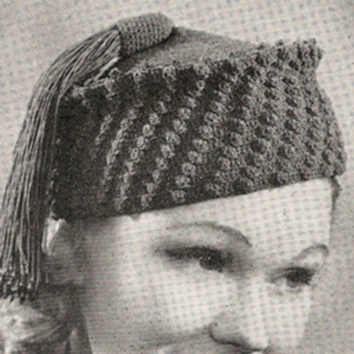 Crochet Tassel Hat Pattern in Popcorn Stitch