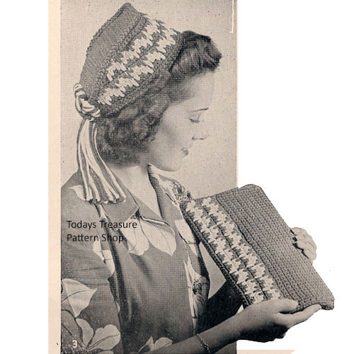 Crochet Quaker Hat Pattern with Clutch Bag