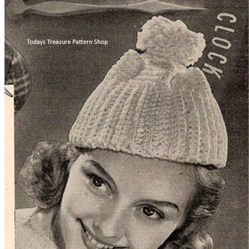 Vintage Crocheted Beanie Cap pattern with Pompom