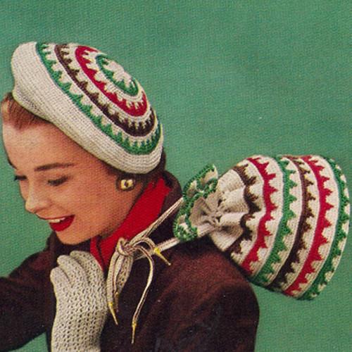 Vintage Crochet Accessories Pattern, Hat, Bag, Gloves