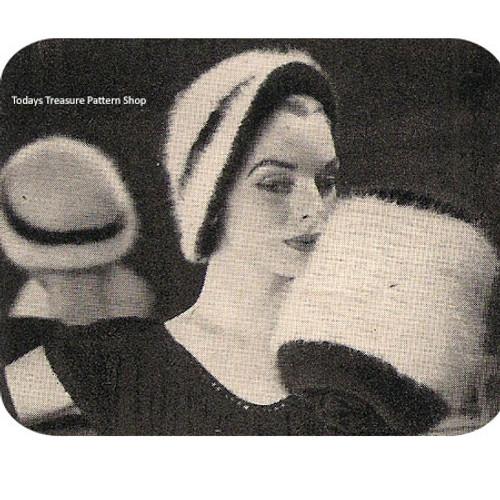 Vintage Angora Cloche Hat Pattern with Muff