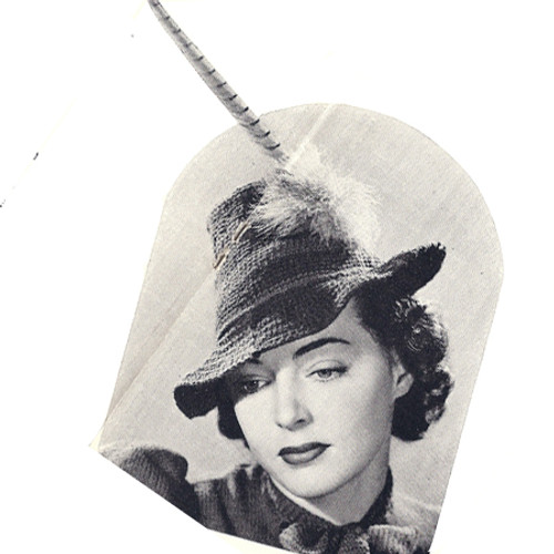 Crocheted Fashion Hat Pattern Vintage 1940s