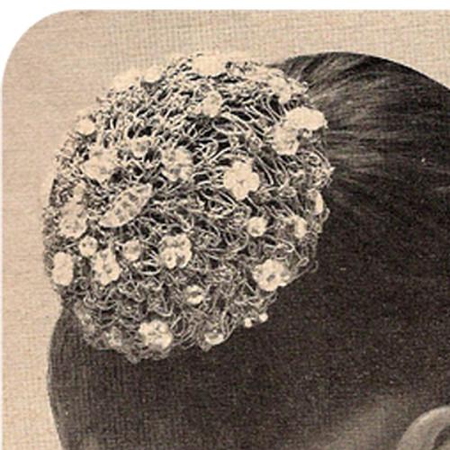 Beaded Chignon Crochet pattern, Vintage 1950s