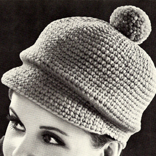 Newsboy Crocheted Hat Pattern, Vintage 1960s