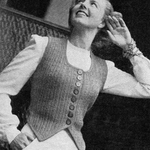 Shaped Vest Knitting pattern with Square Neck